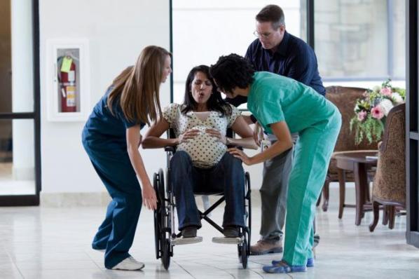 Woman having labor pains at hospital
