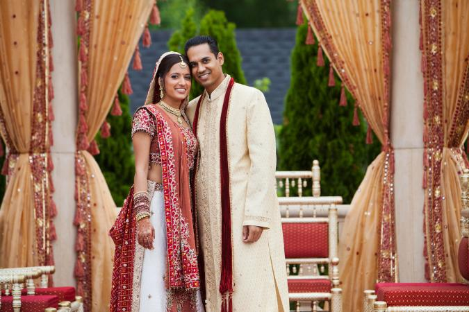 Indian Wedding Attire for Men Indian couple in traditional wedding clothing