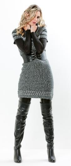leggings under a grey sweater dress