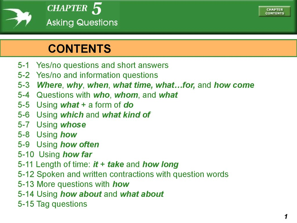 Asking Questions Chapter 5