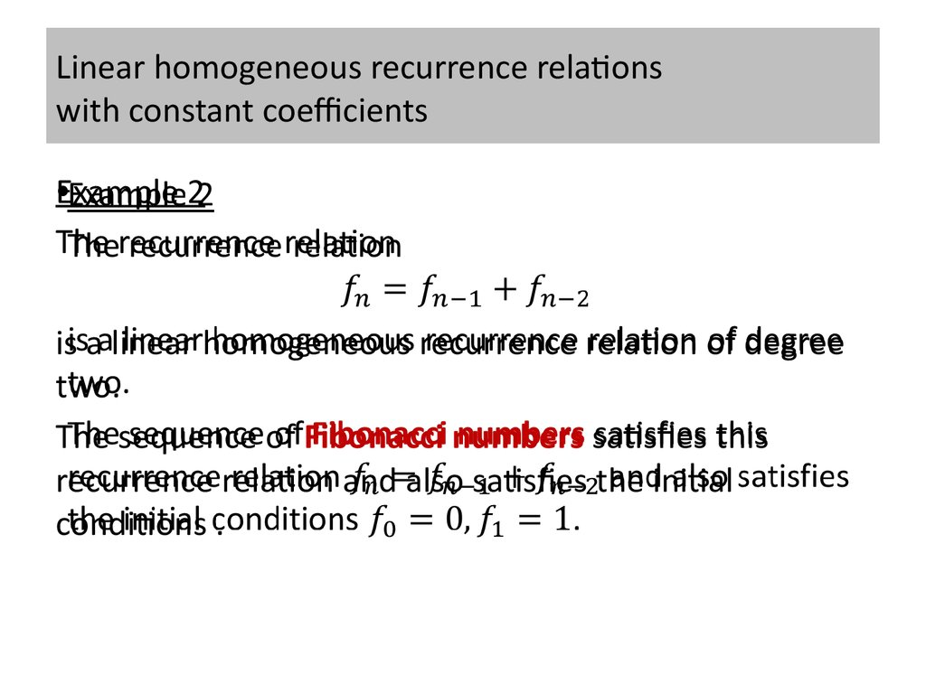 Solving Linear Recurrence Relations
