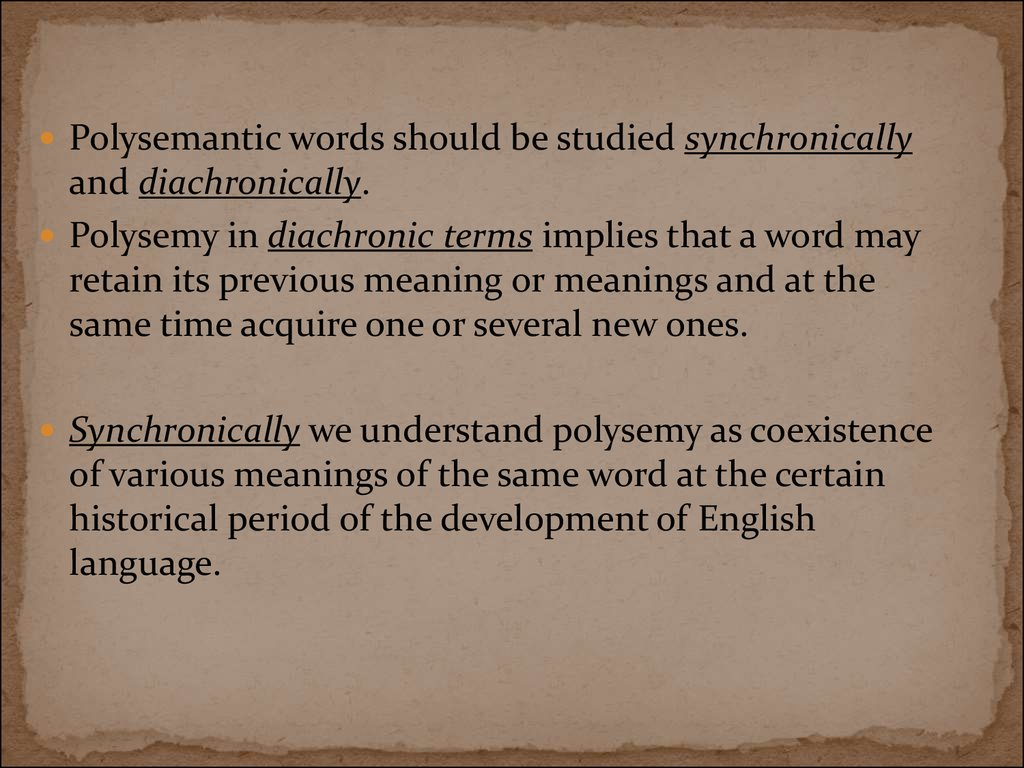 Polysemy And Homonymy