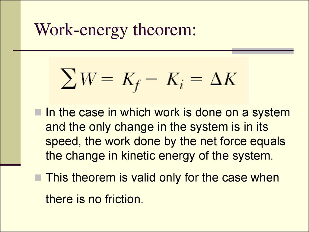 Work Energy And Power Conservation Of Energy Linear