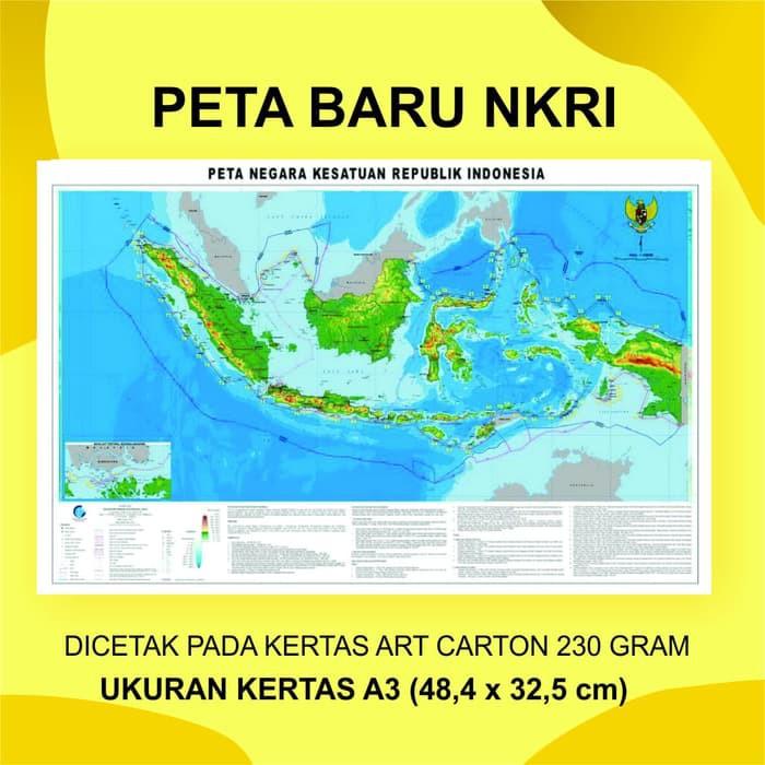 18,2 cm x 25,7 cm. Poster Peta Pulau Indonesia Nkri Terbaru Ukuran A3 48 4 X 32 5 Cm Shopee Indonesia