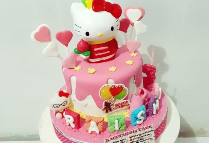 Cake Birthday Fondant Kue Ulang Tahun Tema Hello Kitty 2dimensi