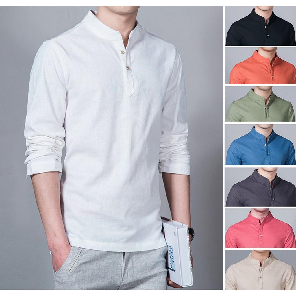 baju koko terbaru untuk pria. Baju Koko Putih Polos Muslim Lenganpanjang Kameja Koko Tersedia 8 Variasi Warna Shopee Indonesia