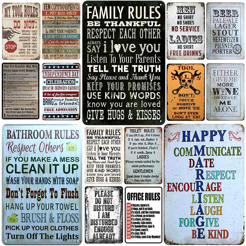 2020 tool rule plaque metal vintage tin sign pin up shabby chic decor metal signs vintage bar decoration metal poster pub metal plate