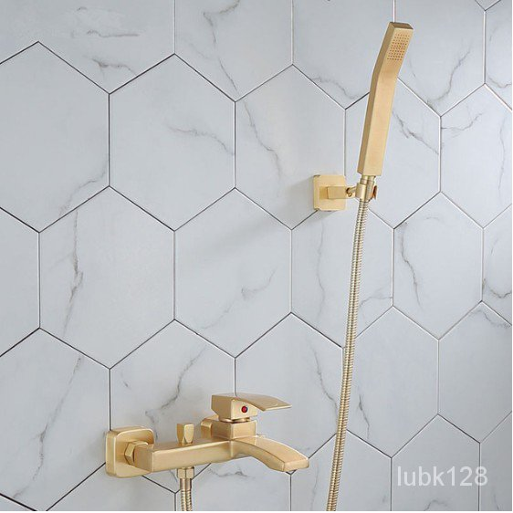 bathtub shower set wall mounted brushed gold bathtub faucet bathroom cold and hot bath and shower mixer taps brass30 ราคาท ด ท ส ด