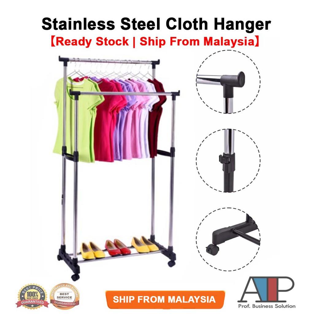 rak gantung baju stainless steel cloth hanger and organizer garment rack wheel single double pole