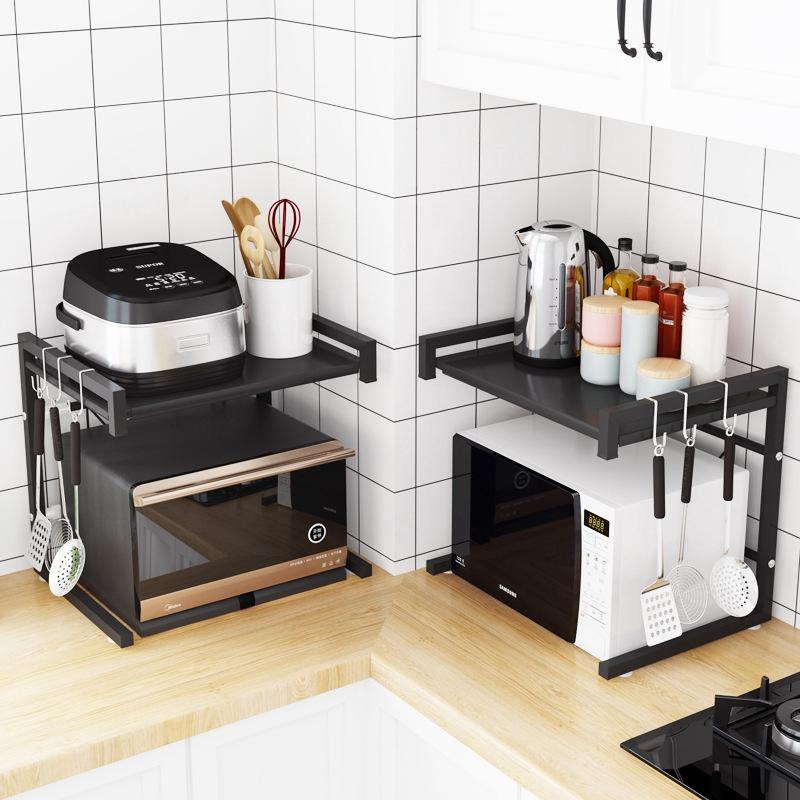 telescopic kitchen shelf microwave oven oven storage shelf floor multi layer space saving stove top rack