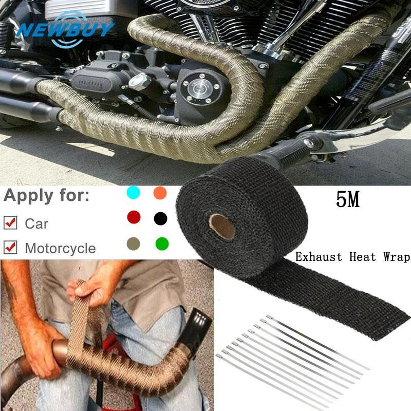 exhaust pipe header heat wrap retention resistant downpipe car motorcycle tape