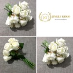 White Roses Bouquet 12 Stems Hand Flowers Bouquet Bridal Wedding Artificial Handbouquet Shopee Malaysia