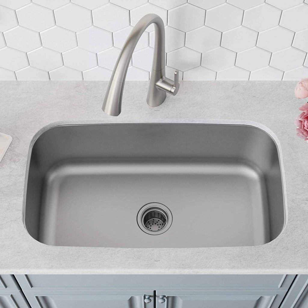 kitchen undermount sink single bowl extra deep basin 228mm with fast drain opening