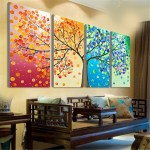 4pcs Colorful Four Season Tree Wall Canvas Painting Picture Print Decor