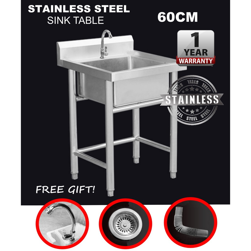 stainless steel 60cm commercial floor standing single bowl kitchen sink