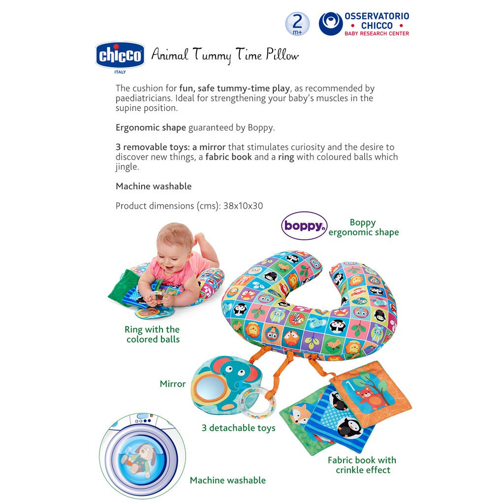 chicco animal tummy time pillow
