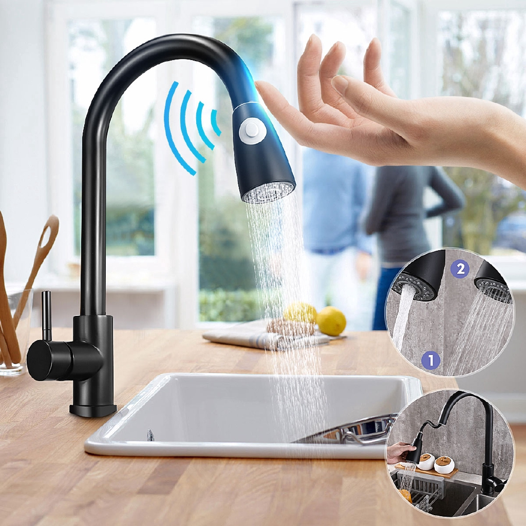 black pull out kitchen faucet stainless steel touch control kitchen faucets sensor kitchen sink taps mixer touch faucet