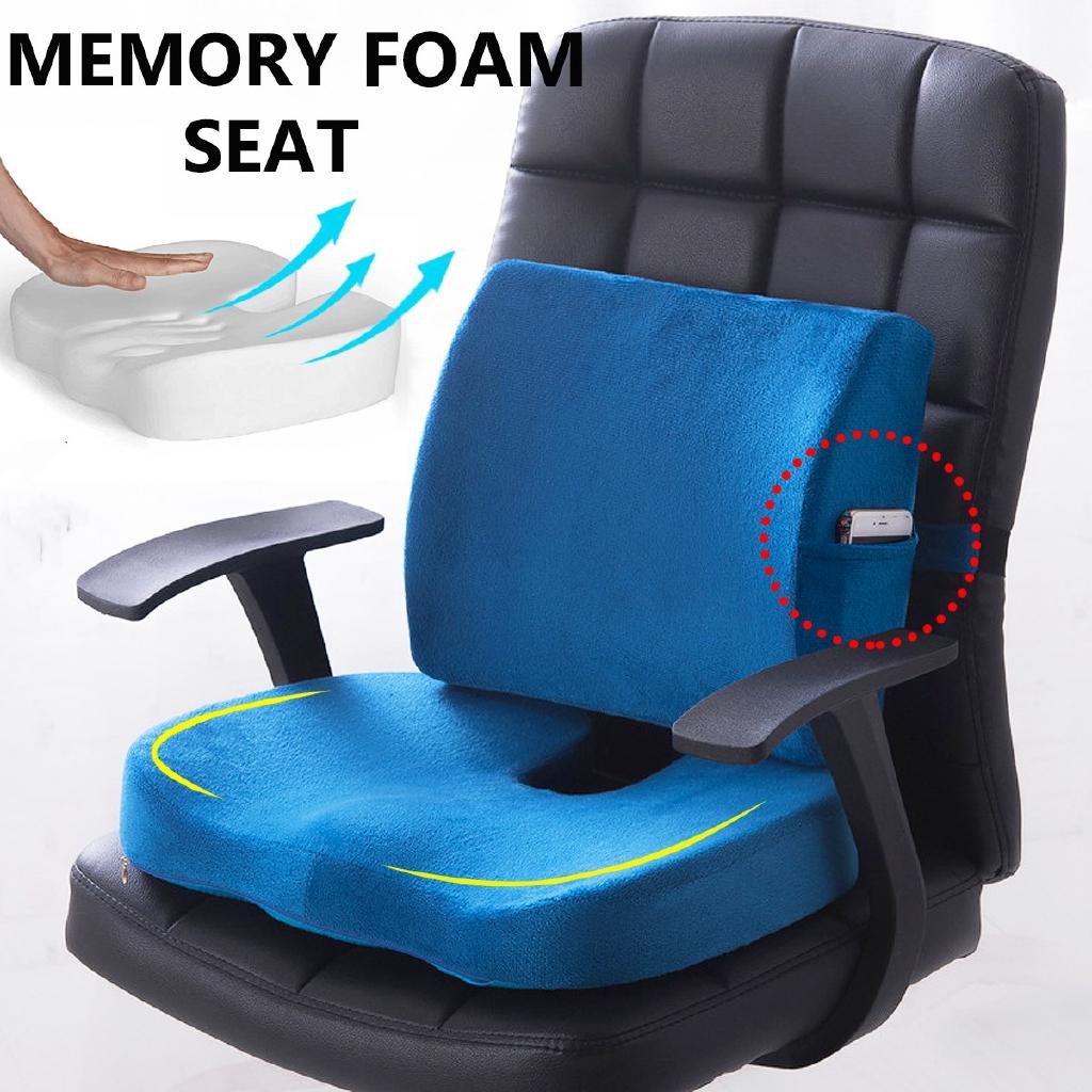 wonderful memory foam lumbar cushion back support pillow car seat pain relief chair office