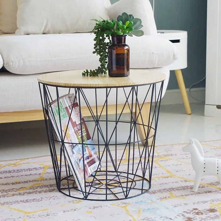 coffee table side table wire storage basket table storage basket