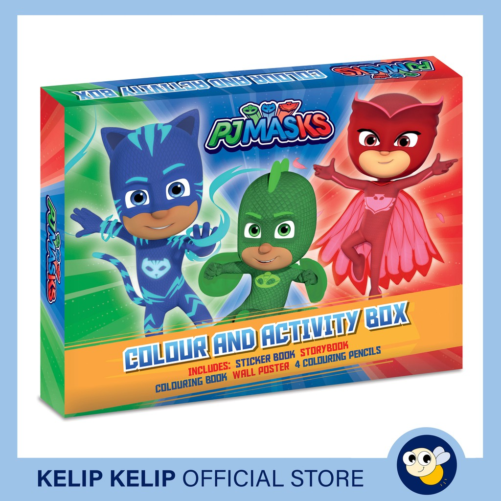 pj masks colour and activity boxset with colouring book sticker book storybook poster colour pencils