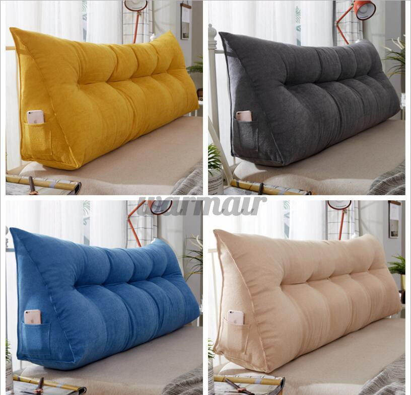 filled bed large sofa triangular wedge cushion bed backrest positioning support pillow reading pillow office lumbar pad with removable cover hot sale