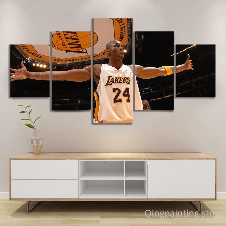 5pcs kobe bryant nba basketball star poster canvas oil paintings wall art for home decor