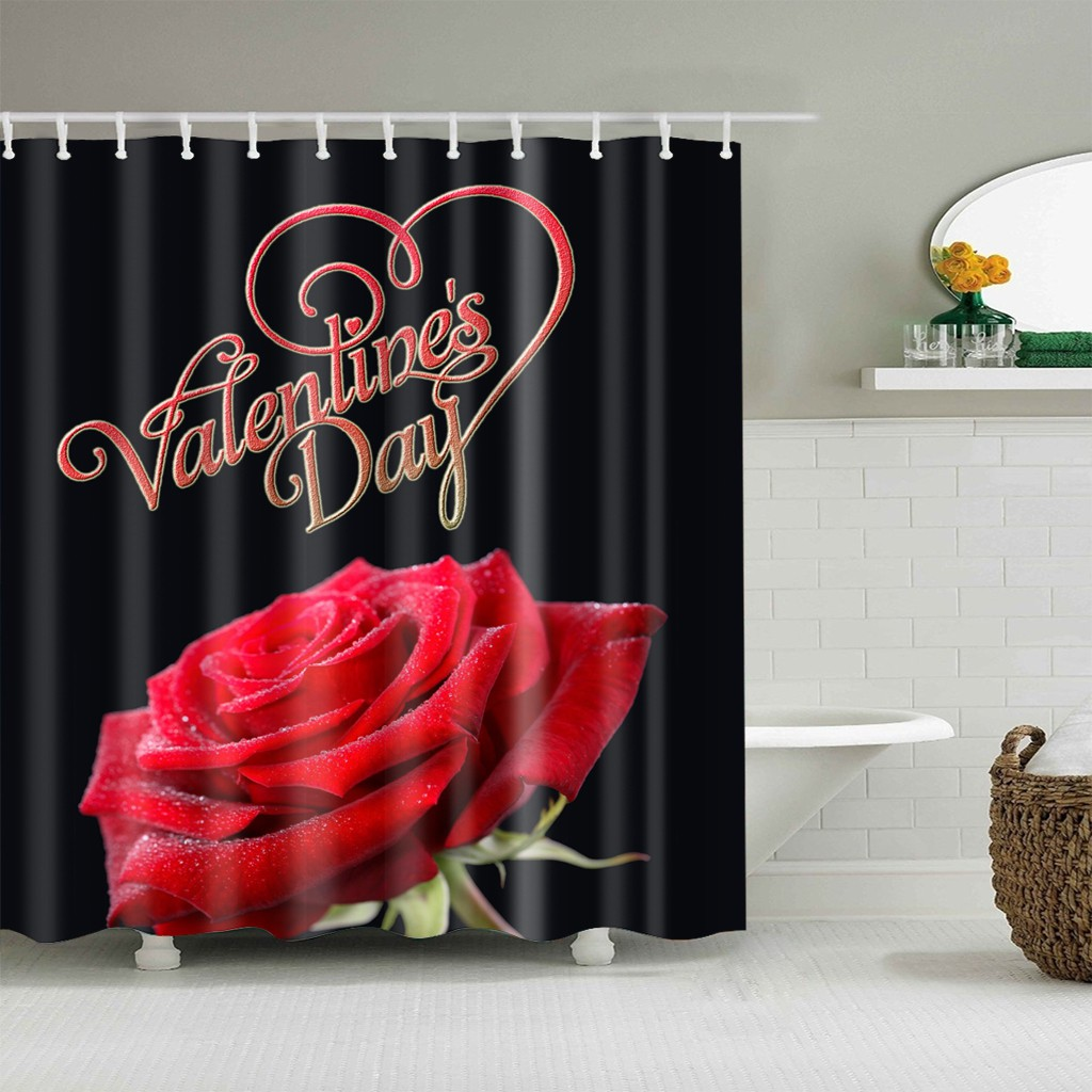 Youngshion 3d Digital Printing Waterproof Polyester Shower Curtain Red Rose