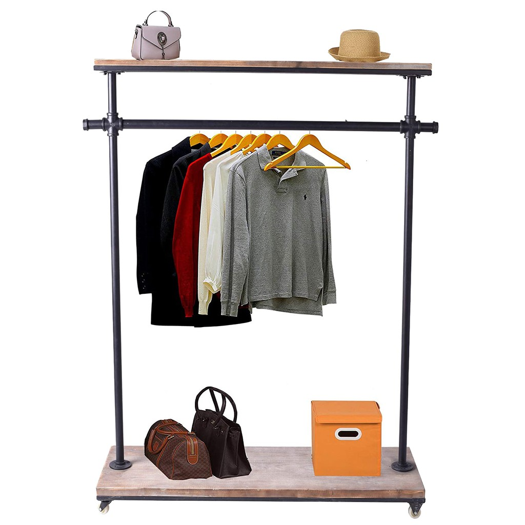 industrial pipe clothing rack pine wood shelving shoes rack cloth hanger pipe shelf garment racks