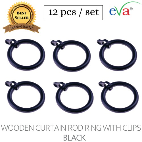 curtain wooden rod ring with clips