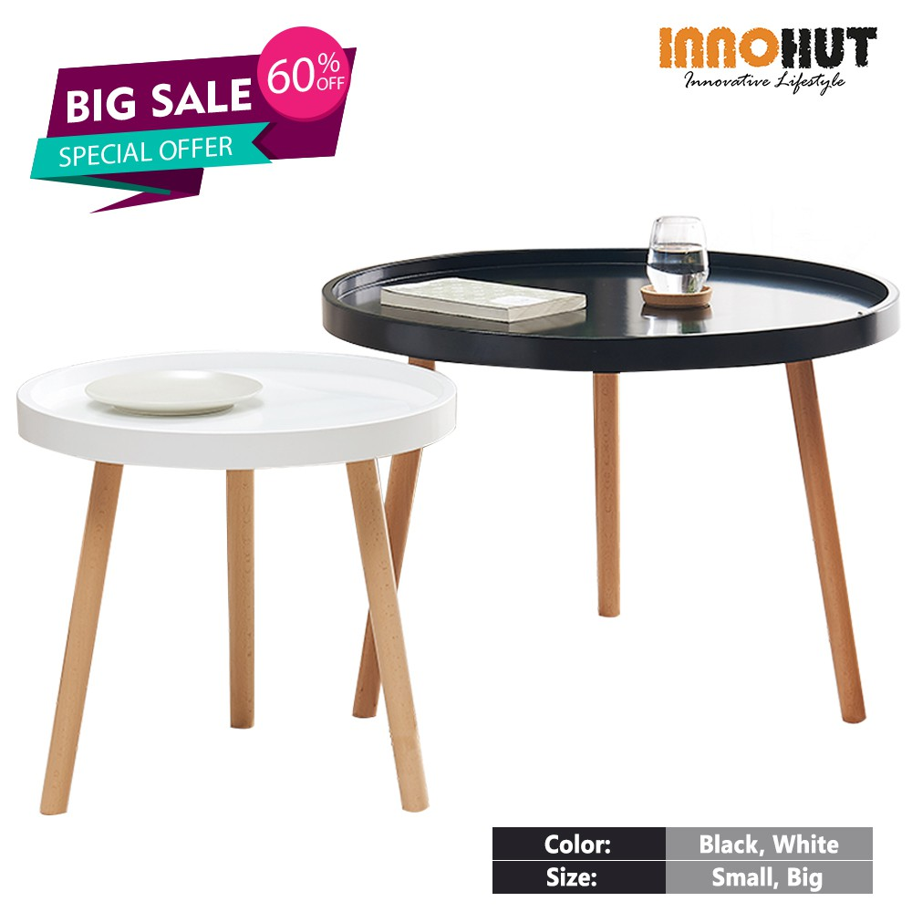 innohut minimalist wooden round coffee table modern coffee table solid wood