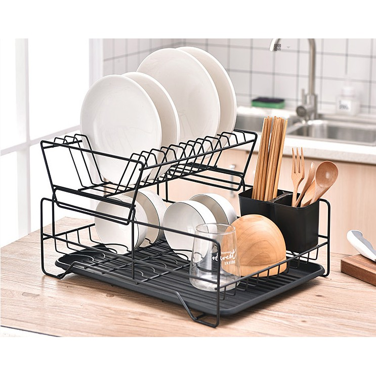 ready stock nordic style dish rack modern home decor big storage rack double layer japanese style dish drainer 2 layer