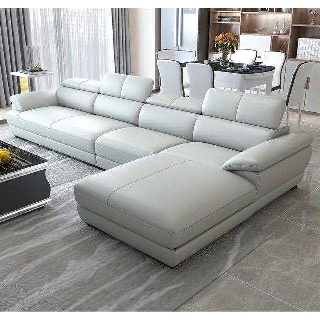 l shape first layer cowhide leather sofa