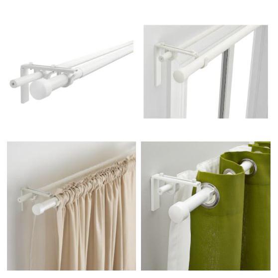 ikea single double curtain rod full set adjustable length 70 120 cm white black