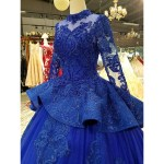 Beaunique Royal Blue Baju Pengantin Luxury Dream Premium Wedding Gown Lace Back Peplum Long Tail Empire Palace Theme Shopee Malaysia