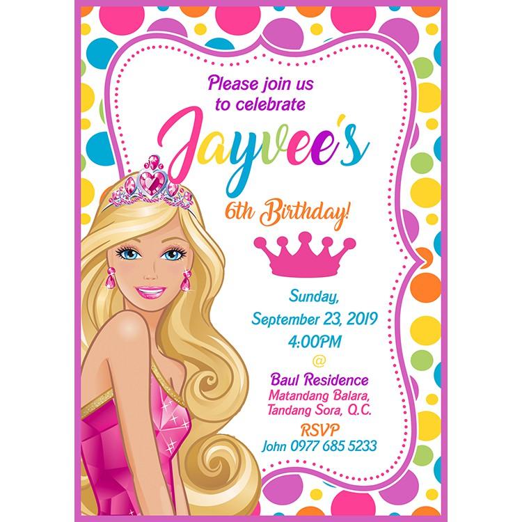 7th birthday barbie invitation card