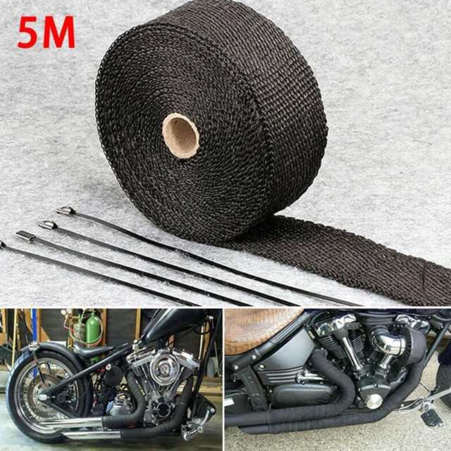 5m car motorcycle exhaust wrap pipe header heat wrap turbo exhaust thermal wrap tape