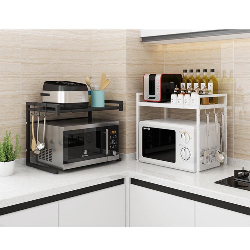 kitchen organizer telescopic microwave oven kitchen shelf floor household rice cooker oven shelf kitchen countertop double storage rack