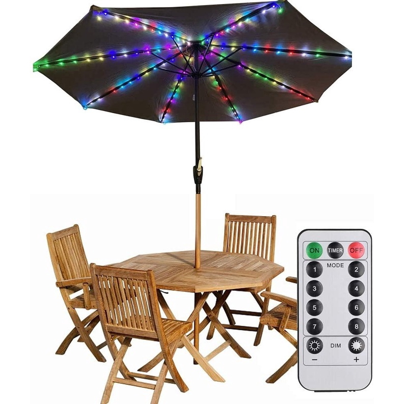 patio led umbrella string lights parasol string lights 104 leds 8 lighting mode with umbrella lights battery operated waterproof outdoor lighting for