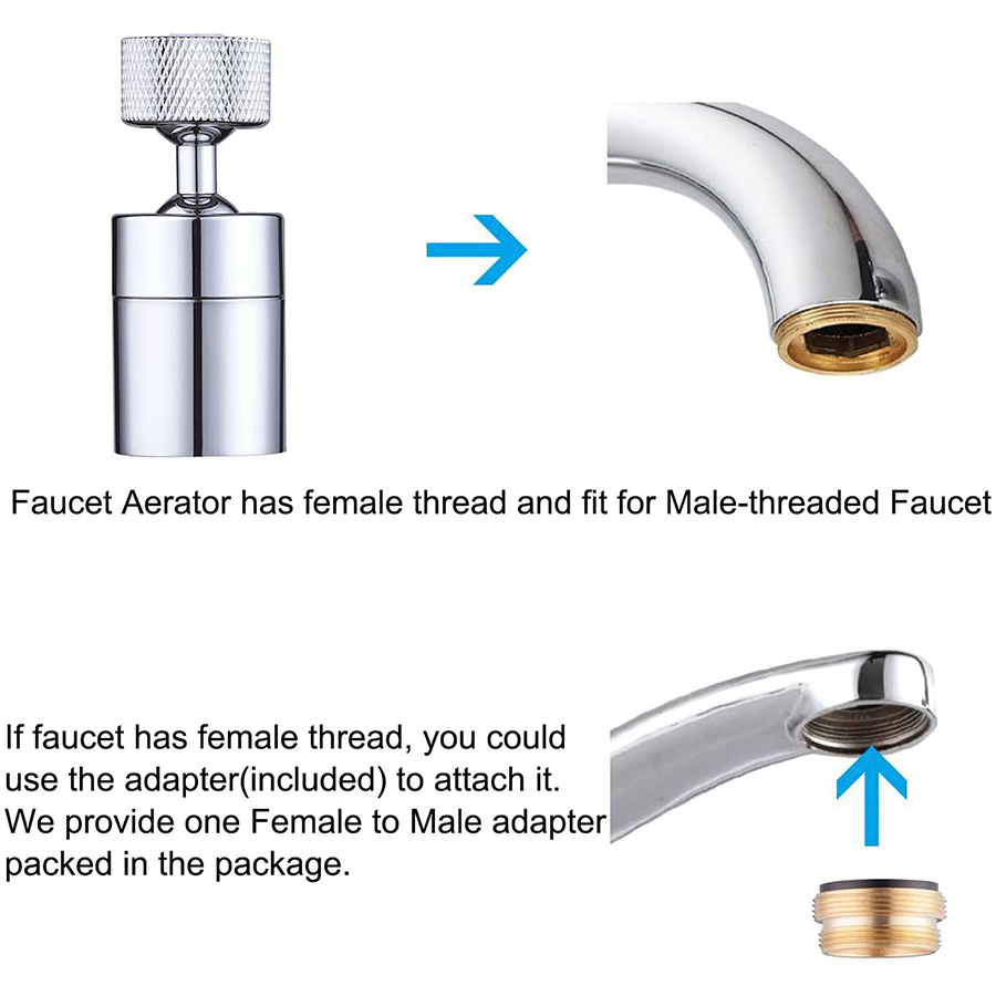 720 degree swivel dual modes faucet aerator big angle spray large flow kitchen faucet aerator universal tap head attachment faucet filter nozzle