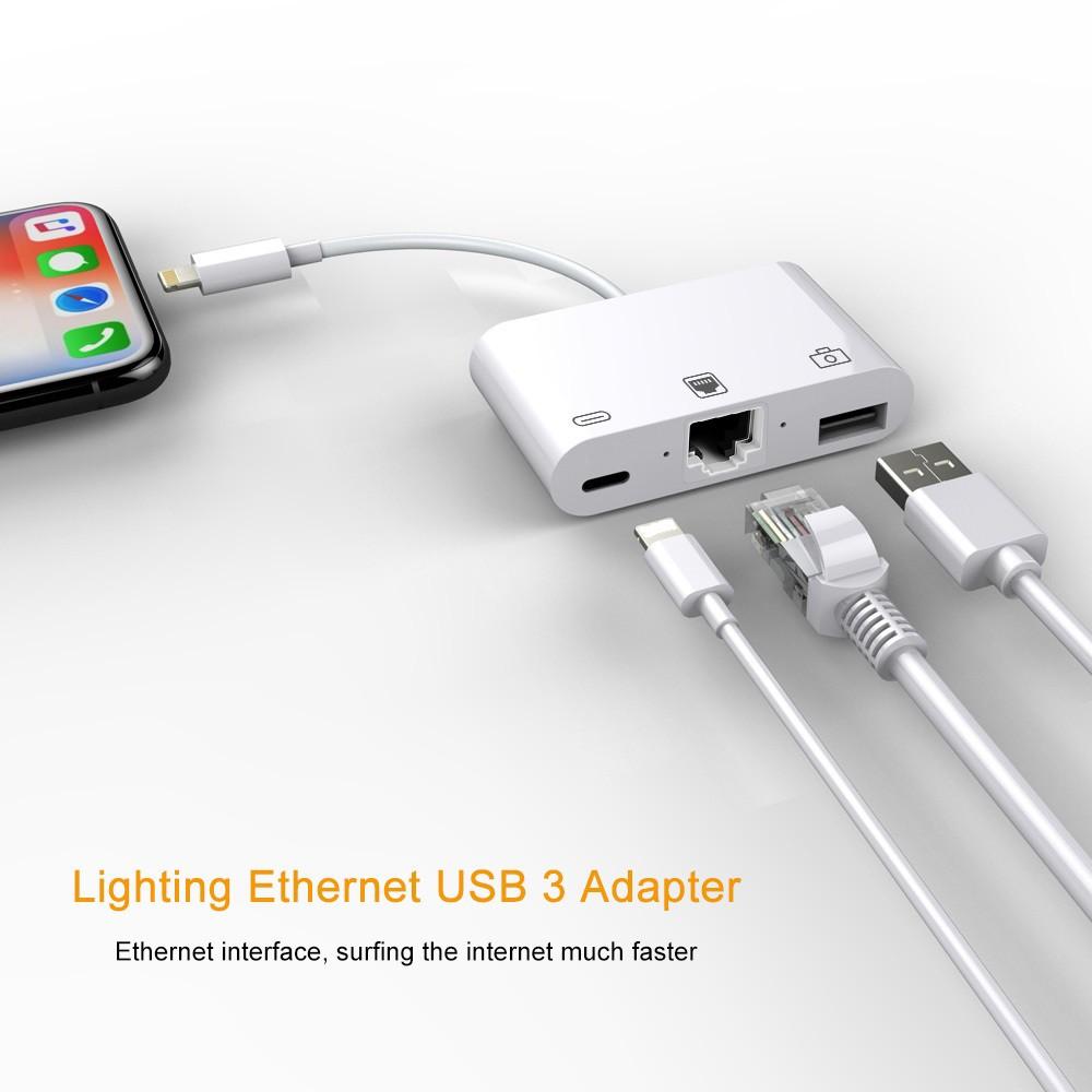 3 in 1 lightning to lightning usb 3 0 rj45 ethernet lan port otg adapter for iphone ipad white
