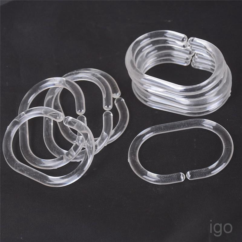 12pcs plastic clear c type bathroom shower curtain liner hook hooks rings gjph