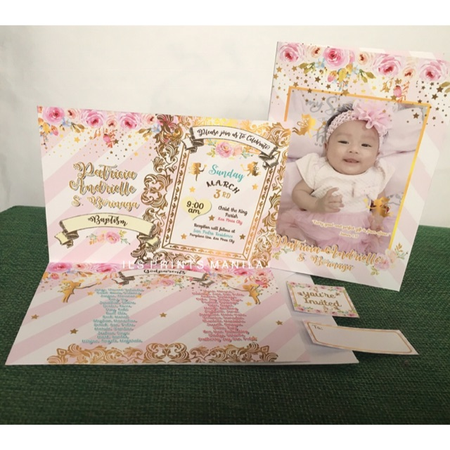 fairy land theme birthday christening invitation card with white envelope stickers seal to