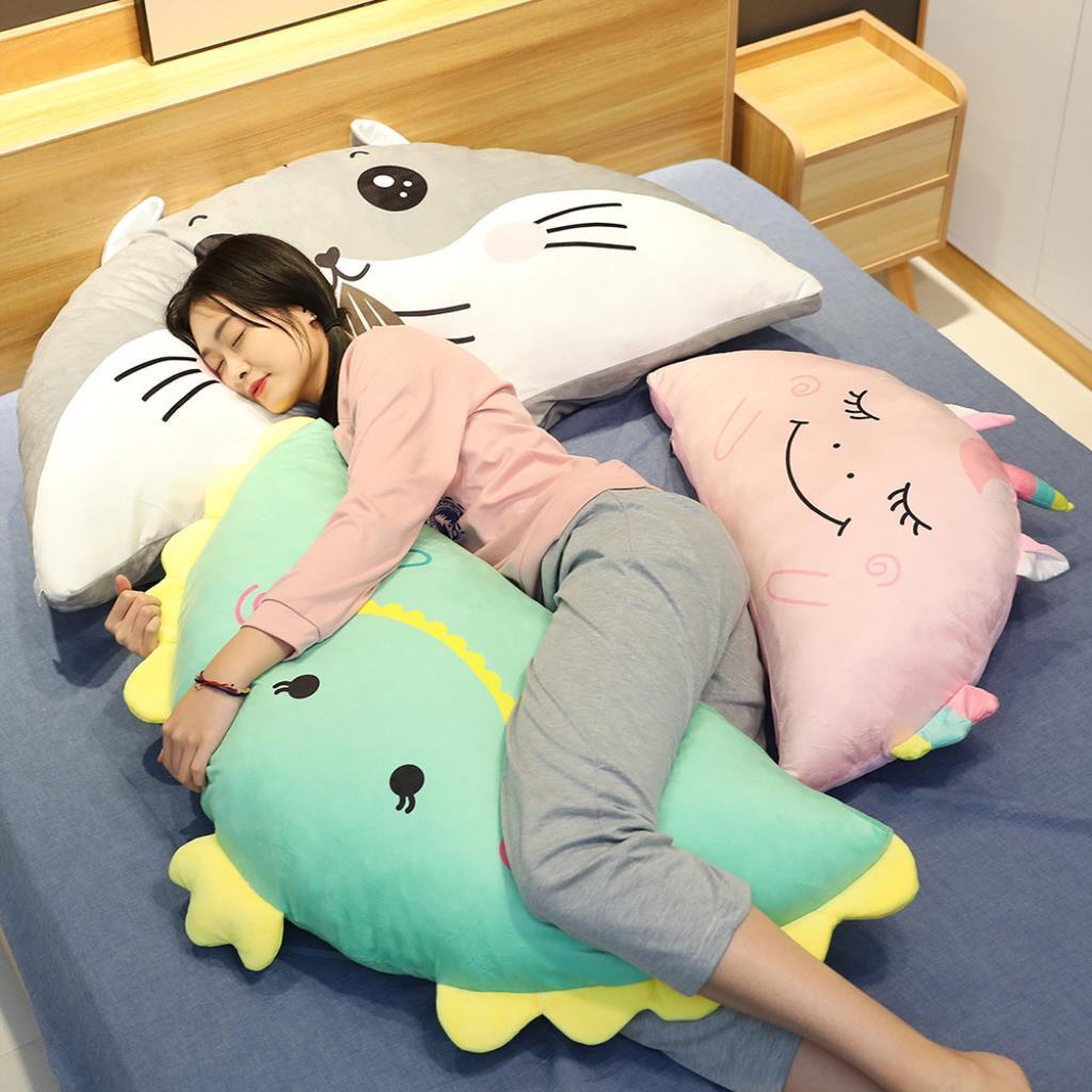 cute dinosaur pillow cushion large semi circular pillow bed plush toy sleeping hamster unicorn backrest