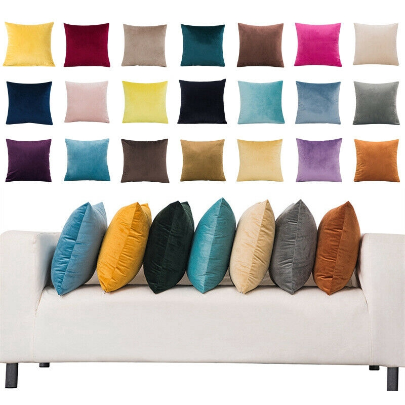 16x16 18x18 20x20 22x22 24x24 square large velvet solid cushion cover throw pillow case home sofa decor