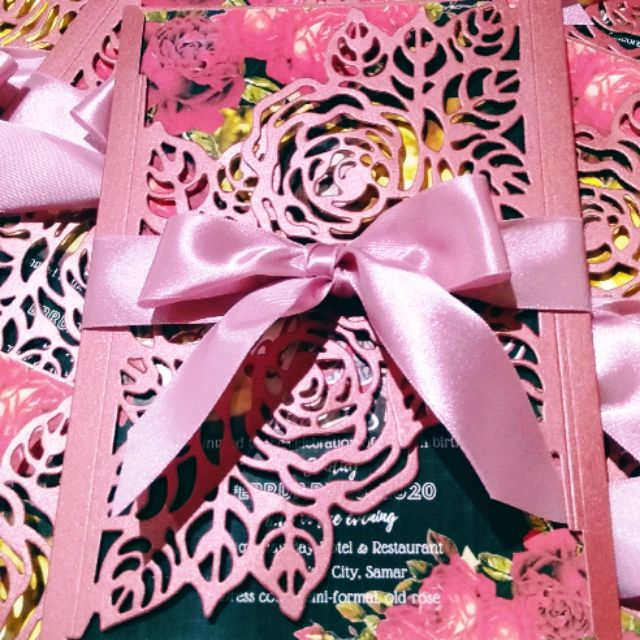 invitation card laser cut rose design for debut wedding and birthday available in different colors
