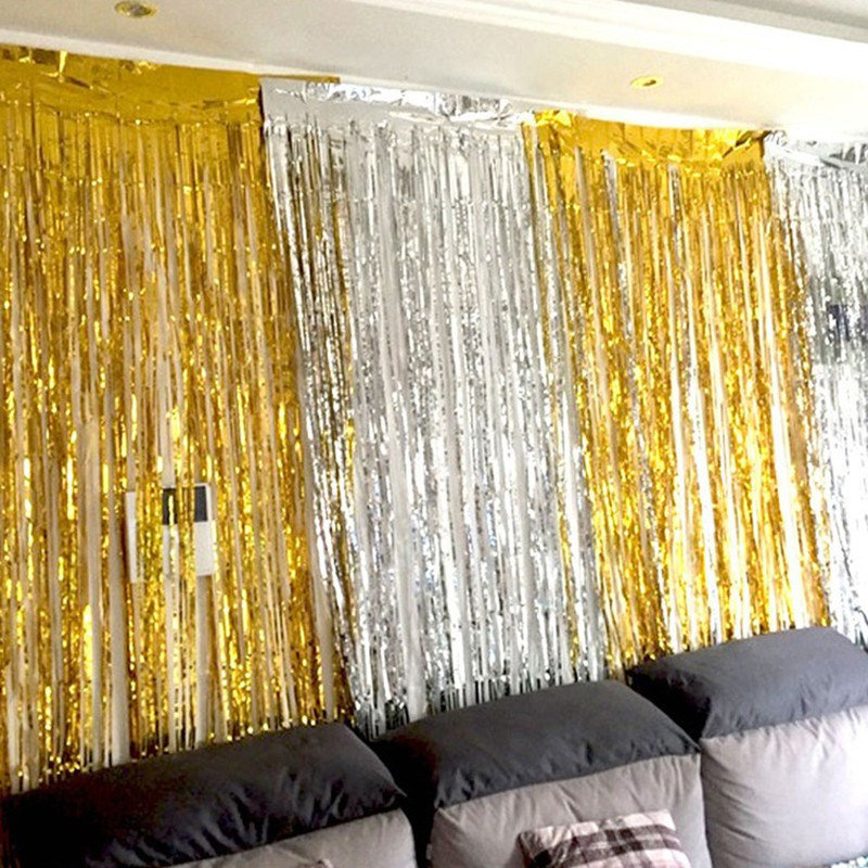 2m gold silver metallic foil tinsel fringe curtain birthday party decoration wedding photography backdrop decors curtain photo props