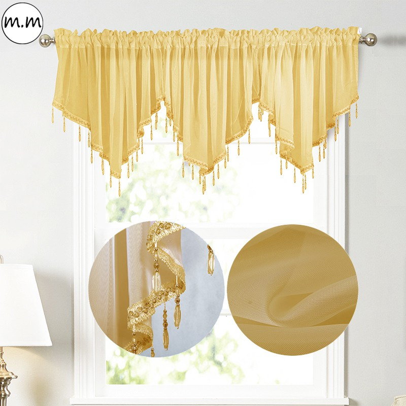 swag curtain rod pocket scalloped curtain valance sheer lace panels with hanging crystal beads for farmhouse kitchen bedroom window treatments drape