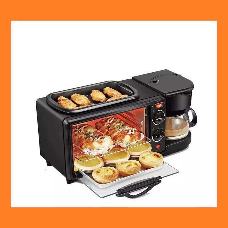 3 in 1 aluminum breakfast machine electric coffee maker microwave oven toaster grill pan bread