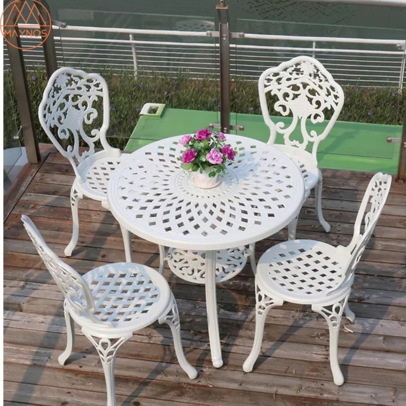 maynos outdoor furniture cast aluminum furniture 78cm diameter round tabletop table 4 chairs for balcony patio terrace