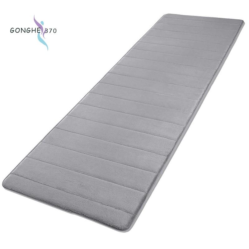 memory foam soft bath mats non slip absorbent bathroom rugs extra large size runner long mat for kitchen bathroom floors 60x160cm grey